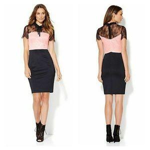 New York & company colorblock lace sheath dress